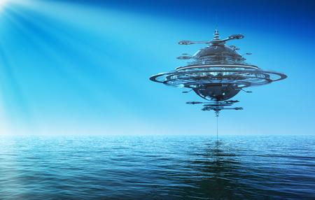 interplanetary: Futuristic Sky Station In Rays Of the Sun. 3D Scene. Stock Photo