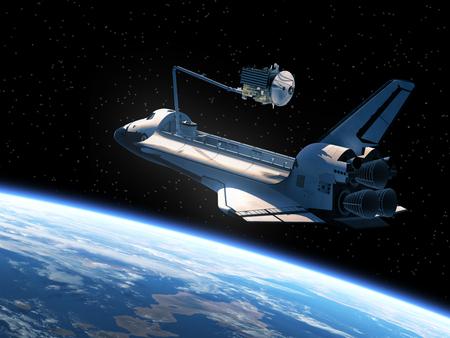 challenger: Space Shuttle Deploying Satellite. Realistic 3D Scene.