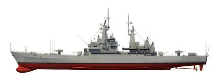 American Modern Warship Over White Background. 3D Model. Stock Photo