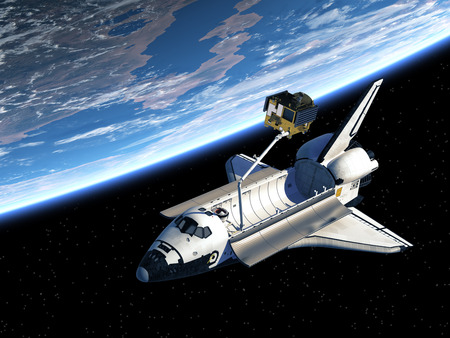 Space Shuttle Deploying Satellite In Space. 3D Scene. 写真素材