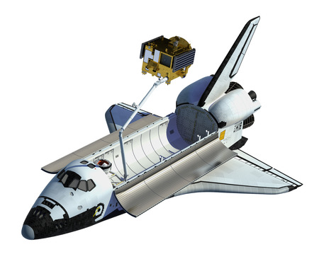 space station: Space Shuttle Deploying Satellite On White Background. 3D Scene. Stock Photo