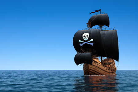 barco pirata: Barco pirata en el océano azul. Escena 3D. Foto de archivo