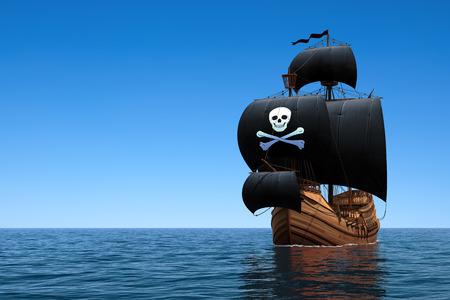 Pirate Ship In Blue Ocean. 3D Scene. Foto de archivo