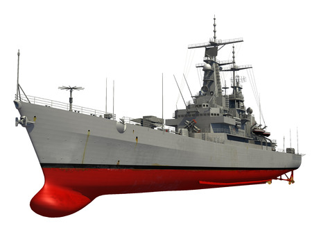 Modern Warship Over White Background. 3D Model.