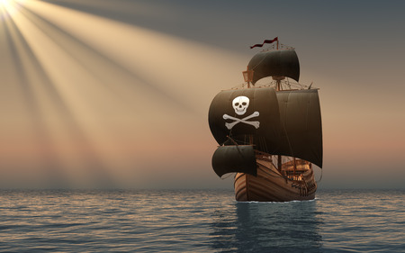 drapeau pirate: Pirate Ship dans les rayons du Soleil Scène 3D. Banque d'images