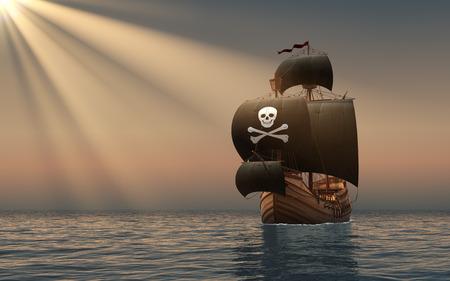 sail ship: Pirate Ship In The Rays Of Sun. 3D Scene.