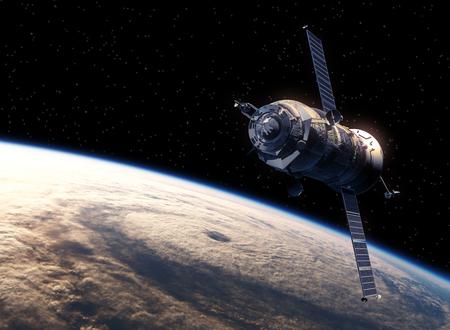 spacecraft: Cargo Spacecraft Orbiting Earth. Realistic 3D Scene.