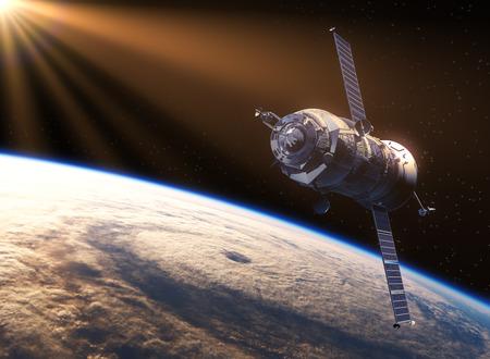 orbital spacecraft: Spacecraft In The Rays Of Sun. 3D Scene. Stock Photo