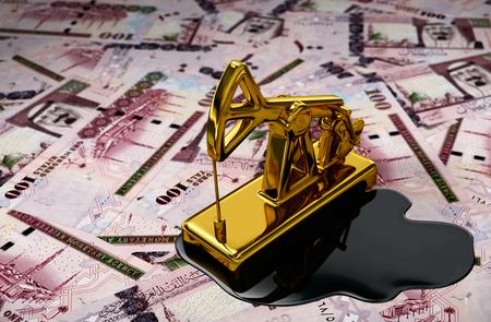 Gold Pumpjack And Spilled Oil Over Saudi Riyals. 3D Scene.