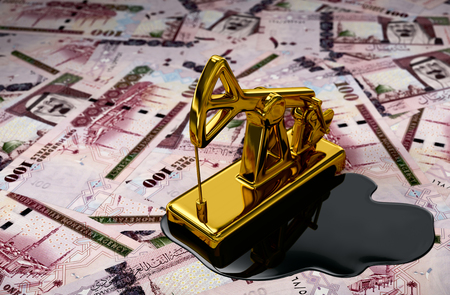 Gold Pumpjack And Spilled Oil Over Saudi Riyals. 3D Scene.