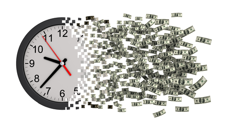 falling apart: Time Is Money. Clock Falling Apart To Dollars. 3D Model.