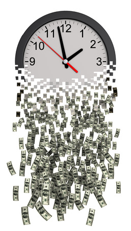 apart: Time Is Money. Clock Falling Apart To Dollars. 3D Model.
