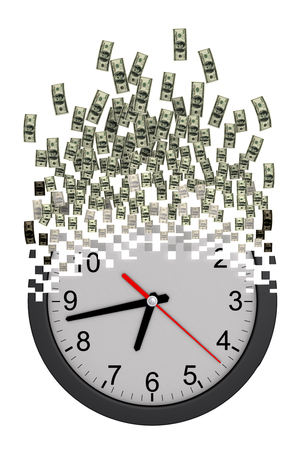 falling apart: Time Is Money Concept. Clock Falling Apart To Dollars. 3D Model.