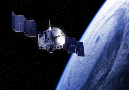 paneles solares: Satélite despliega paneles solares en el espacio. Escena 3D. Foto de archivo