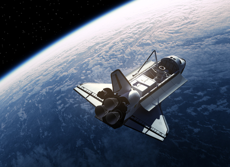 challenger: Space Shuttle In Space. Realistic 3D Scene.