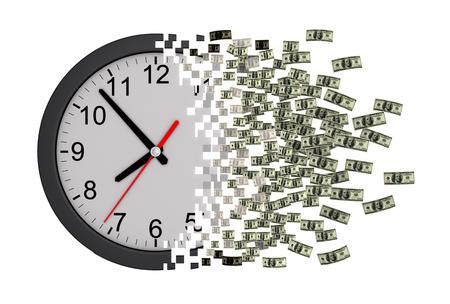 3d model: Time Is Money. Clock Falling Apart To Dollars. 3D Model.