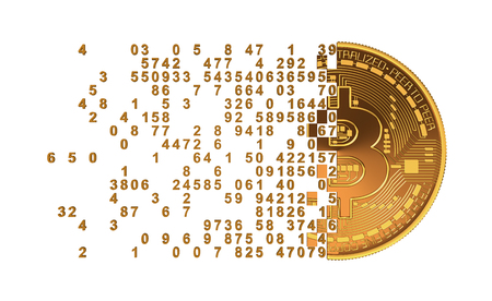 falling apart: Bitcoin Falling Apart To Digits Concept. 3D Model. Stock Photo