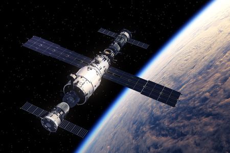 orbiting: Space Station And Spaceships Orbiting Earth. 3D Scene.