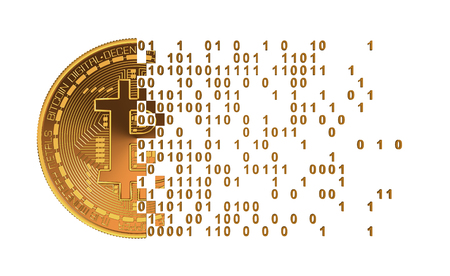 Bitcoin Uiteenvallen To Computer cijfers. 3D Model. Stockfoto - 54410756