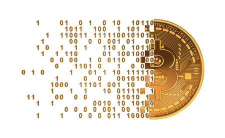 falling apart: Bitcoin Falling Apart To Computer Digits. 3D Model. Stock Photo