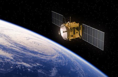 Communicatie Satelliet een baan om de Aarde. Realistische 3D-scène.