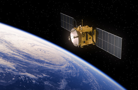 hurricane: Communication Satellite Orbiting Earth. Realistic 3D Scene.