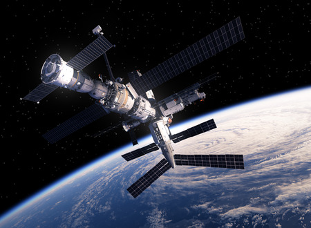 space station: International Space Station Orbiting Earth. 3D Scene.