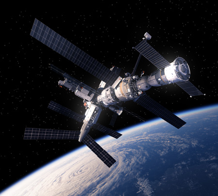 orbital spacecraft: Space Station Over The Earth. 3D Scene.