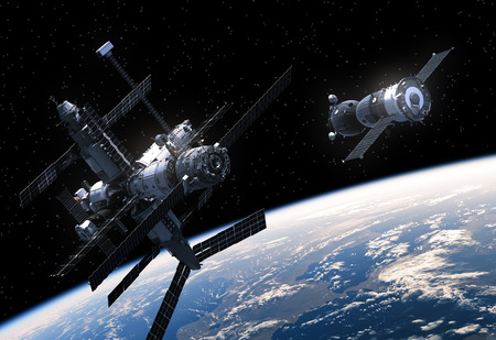 orbital spacecraft: Space Station And Spacecraft In Space. 3D Scene.