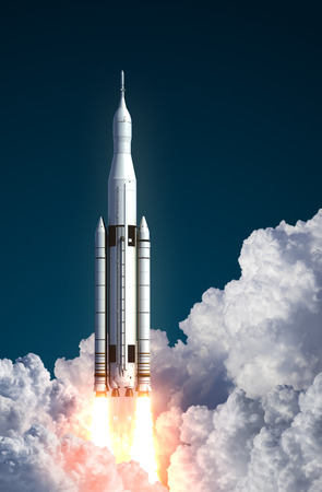Space Launch System Takes Off In The Clouds. 3D Scene.