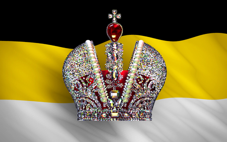 imperialism: Big Imperial Crown Over Flag Of Russian Empire. 3D Scene.