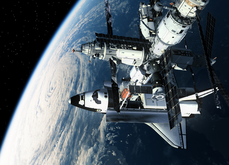 orbiting: Space Station And Space Shuttle Orbiting Earth. 3D Scene.