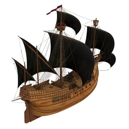 pirate flag: Pirate Ship Over White Background. 3D Model.