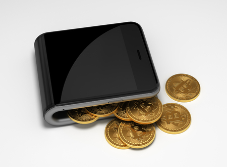 Concept Of Digital Wallet And Bitcoins. 3D Scene. Stock Photo