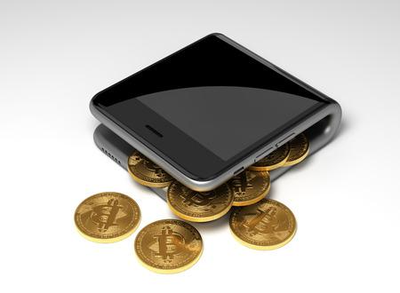 Concetto Di Portafoglio Digitale e Bitcoins Virtuali Monete. Scena 3D.