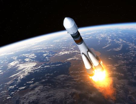 space rocket: Cargo Carrier Rocket Launch. Realistic 3D Scene.