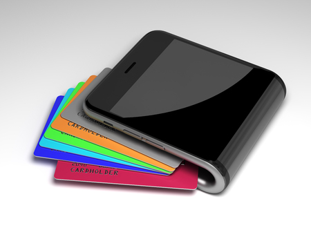 Concept Of Digital Wallet With Credit Cards. 3D Scene.