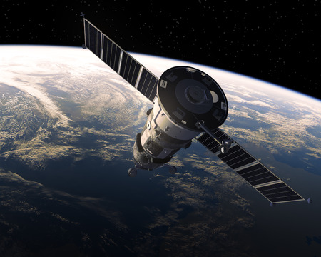 soyuz: Cargo Spacecraft In Space. Realistic 3D Scene.