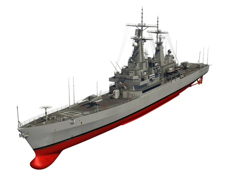 destroyer: American Modern Warship On White Background. 3D Illustration.