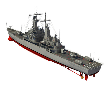 destroyer: American Modern Warship Over White Background. 3D Illustration. Stock Photo