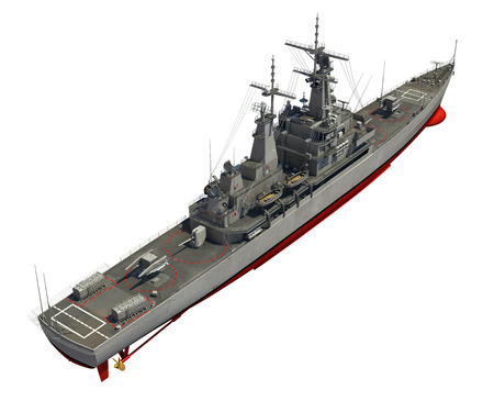 destroyer: Modern Warship Over White Background. 3D Illustration. Stock Photo