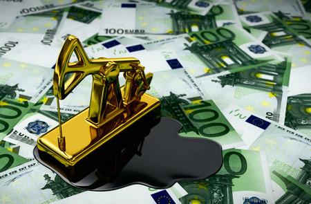 spilled: Gold Pumpjack And Spilled Oil On Euros. 3D Illustration. Stock Photo
