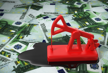 european: Red Pumpjack And Spilled Oil On Euros. 3D Illustration. Stock Photo