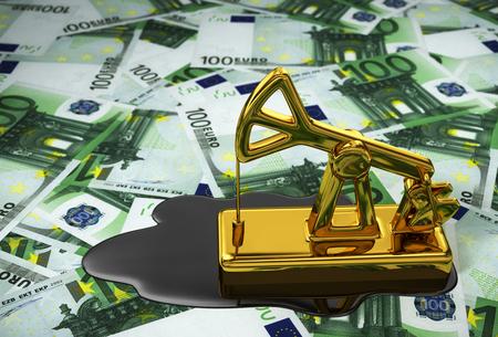 spilled: Pumpjack And Spilled Oil Over Euros. 3D Illustration.