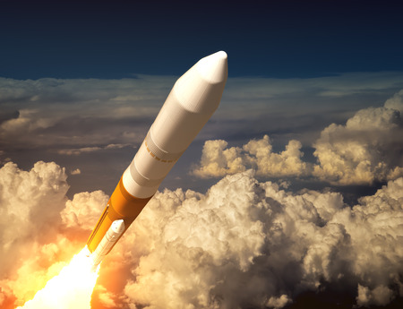 ballistic: Cargo Launch Rocket In The Clouds. 3D Illustration.