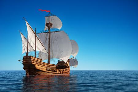 caravel: Old Caravel In The Ocean. 3D Illustration.