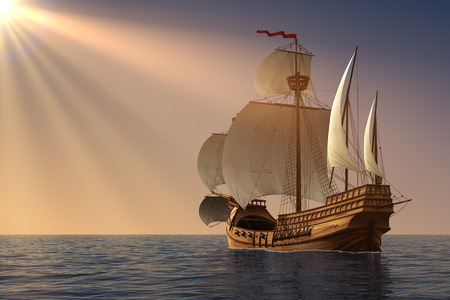 caravel: Caravel In Rays Of the Sun. 3D Illustration. Stock Photo