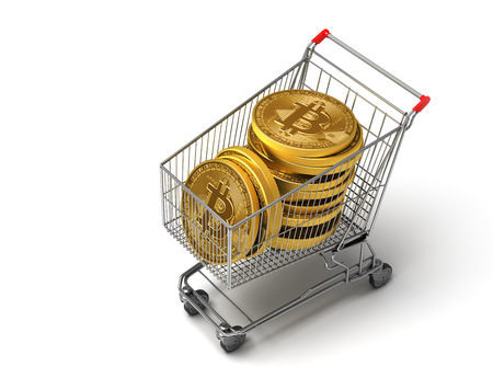 purchased: Concept Of Purchased Bitcoins In The Shopping Cart. 3D Illustration.