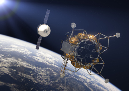 Crew Exploration Vehicle In Rays Of the Sun. 3D Illustration. Stock Photo