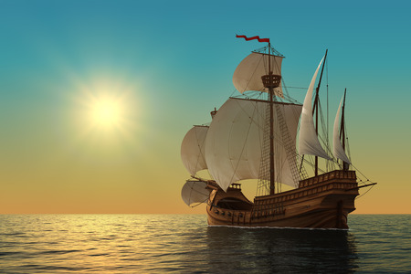 caravel: Caravel In The Ocean. Realistic 3D Illustration. Stock Photo